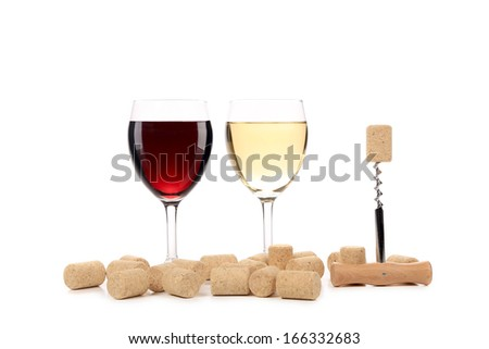 Two wine glasses composition. Isolated on a white background.