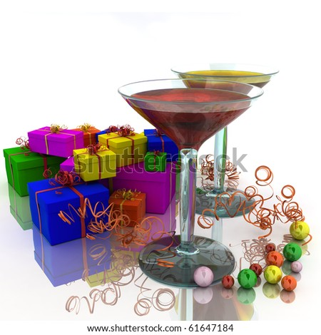 Two wineglass with colored cocktailes and colored gifts