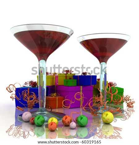 Two wineglass with colored cocktails and colored gifts
