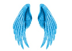 Two wings of angels and demons, big wings, blue color, white background, high quality, halloween, beautiful wings, huge