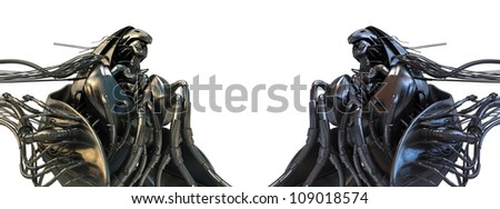 Two wired Archangels / Steel futuristic wired angels in steam punk style