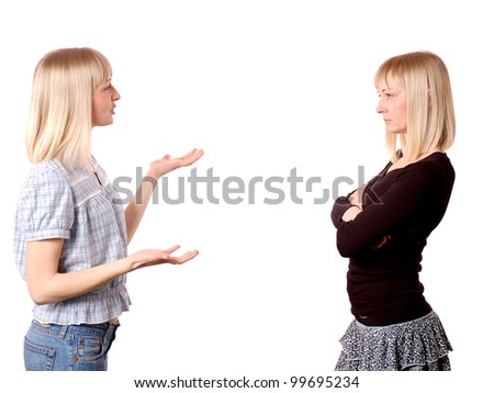 Two woman  discussing problems /Double portrait of woman gesturing and talking with herself