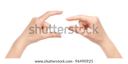 Two woman hand's measuring invisible items. Isolated on white.