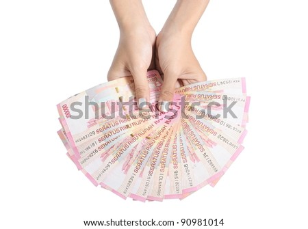 two woman holding hands money, isolated on white background