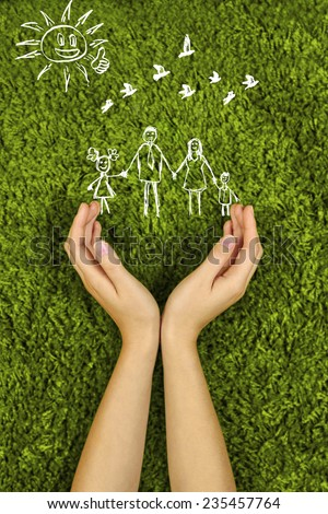 Two Woman\'s open hands making a protection gesture  isolated on green background.Family life insurance, protecting family, family concepts.