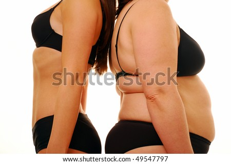 Two woman with different body shapes back to back