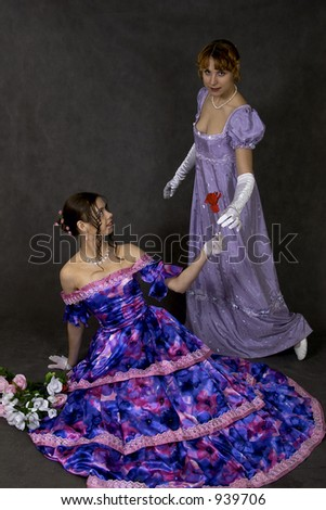 two women and roses