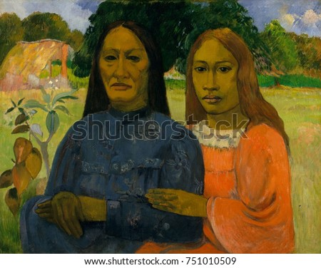 Two Women, by Paul Gauguin, 1901- 02, French Post-Impressionist painting, oil on canvas. Gauguin painted the two Tahitian women from a photograph