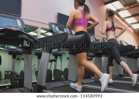 Two women exercising on treadmills in the gym
