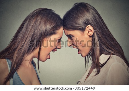 Two women fight. Angry women, looking at each other with hatred, blaming for problem. Friendship difficulties, problems at work concept