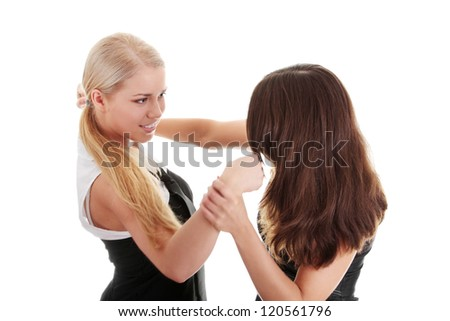 Two women fighting, isolated on white background