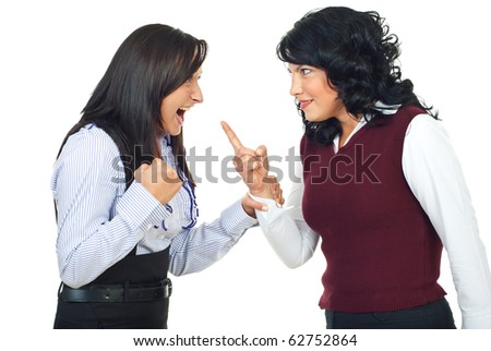 Two women having conflict and preparing for fight isolated on white background