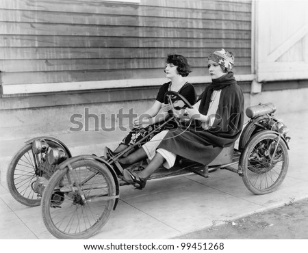 Two women in go kart