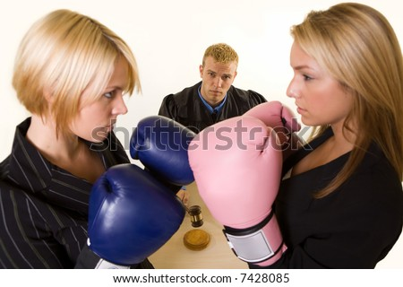 women stomach punching each other