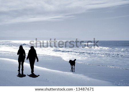two women walking at the beach in the winter with a dog