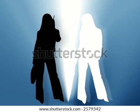 Two womens in light. Illustration