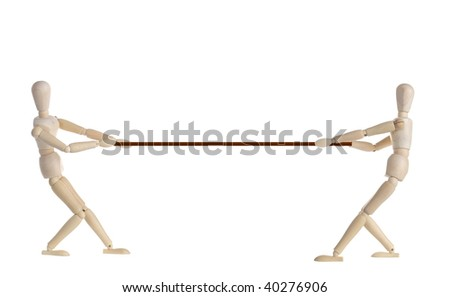 Two Wooden doll pulling a rope.