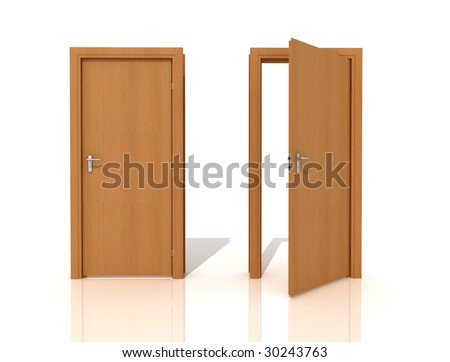 two wooden door isolated on white -rendering