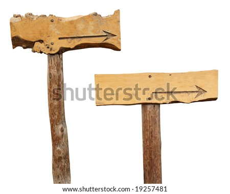 Two Wooden footpath / Arrows / Crossroad signs isolated on white to use in your designs