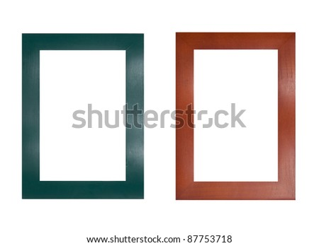 two wooden frames isolated on white background. each one is in full camera resolution