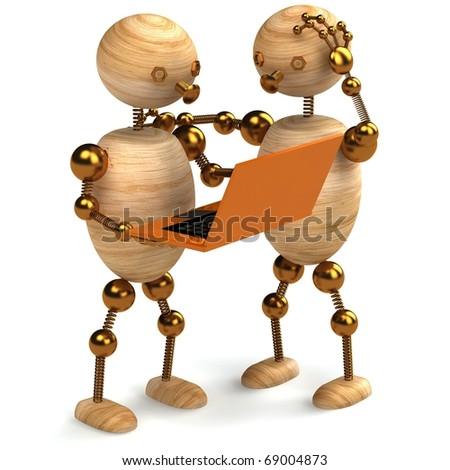 two wooden mans with orange laptop 3d rendered