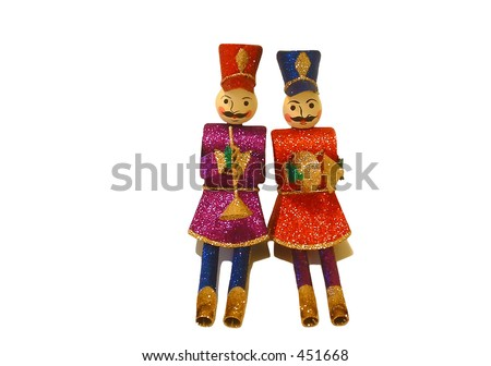 Two wooden marching band characters on white