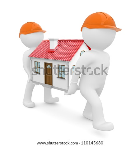 Two workers in orange hard hats have a house with red roof. Isolated on white background