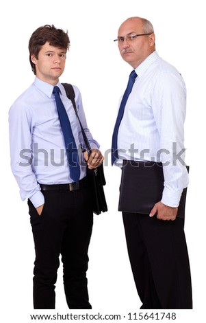 Two worried standing businessmen in blue shirts with briefcases, isolated on white background