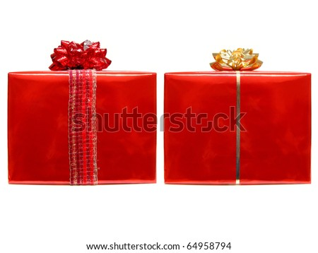 Two wrapped gifts with bows and ribbon