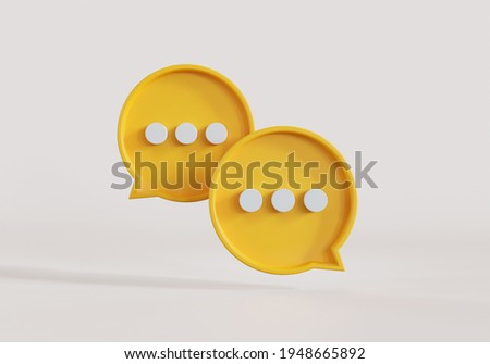 Two yellow bubble talk or comment sign symbol on blue background. 3d illustration.
