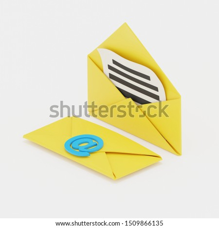"""Two yellow envelopes, one sealed with a blue sealing wax that looks like a """"at"""" symbol, and the other is open. Isolated over white background. 3d render with soft shadows in isometric view."""