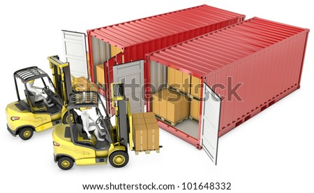 Two yellow lift truck unloading containers, isolated on white background