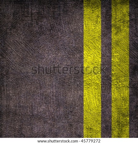 Two yellow lines on asphalt texture