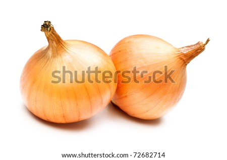 two yellow onions isolated on white background