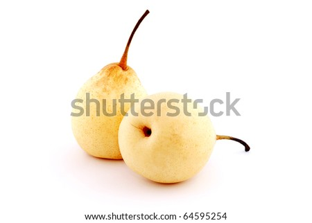 two yellow pears with shadow isolated on white background