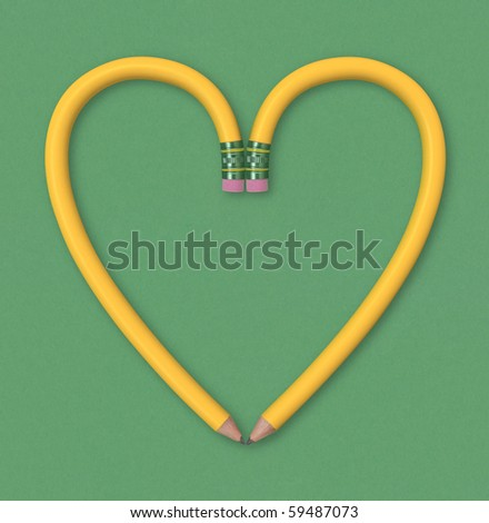 Two yellow pencils forming the outline of a heart on green paper background. Includes clipping path.