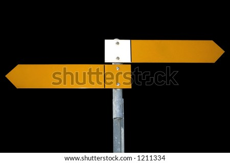 Two yellow pointers on a signpost, pointing directly to right and left, isolated on a black background. Clipping path included.