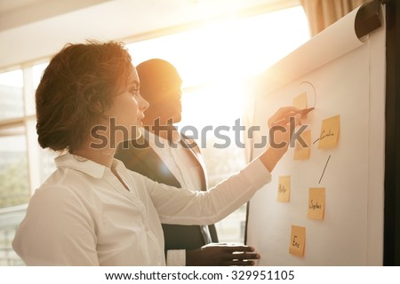 Two young associates working together drawing on flipchart. Businesswoman making a diagram on board and explaining it to male coworker during presentation in conference room. #329951105