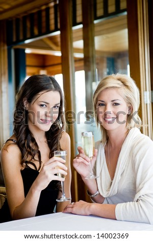 Two young attractive women drinking champagne at a restaurant - stock photo