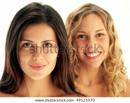 Two young beautifull woman portrait.