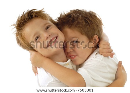 Two young boys playing around and laughing from joy isolated on white