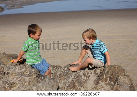 Two young boys sitting on rock at beach