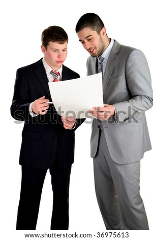 Two young businessmen working and confer, isolated on white