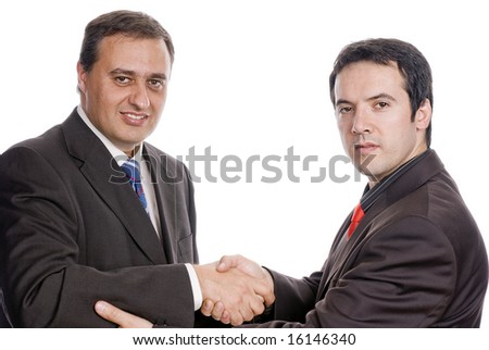 two young businessmens giving handshake on white