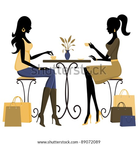 Two young fashionable women having coffee after a day of shopping