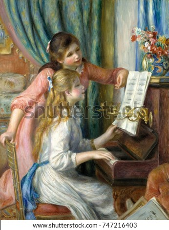 Two Young Girls at the Piano, by Auguste Renoir, 1892, French impressionist painting, oil on canvas. This was painted for the new Musee du Luxembourg, which collected the works of living artists