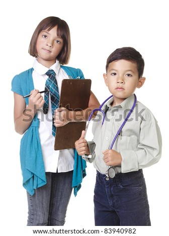 Two young kids in a concept image of future careers.
