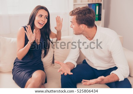 Two young lovers quarreling because of disagreements.