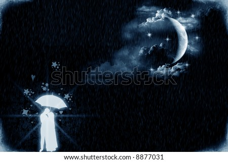 Two young lovers under an umbrella and by the moonlight