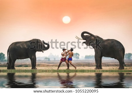 Two young men in ancient fighter uniforms are fighting each other and the elephant. #1055220095